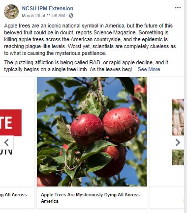 NC IPM Facebook Post on Apple Trees Dying Across America