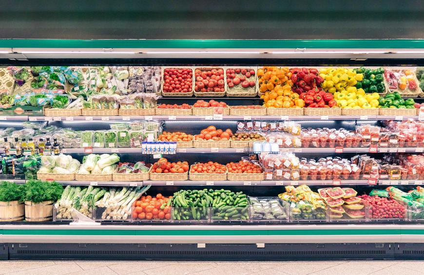 Grocery Store Aisle Stocked with Produce